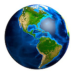 View of the Earth globe from space showing South and North American continents. Isolated on whiite background.