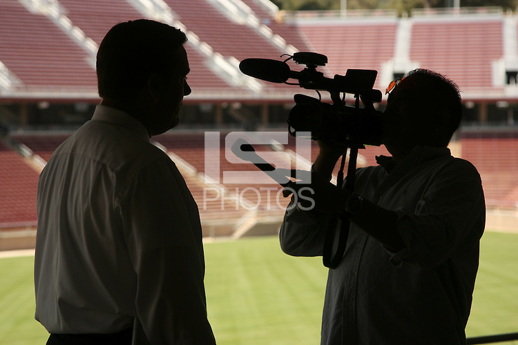22 August 2006: Members of the media gather at a press conference at the new Stanford Stadium in Stanford, CA to introduce new concessions menus and provide a sneak peak at the venue. Ray Purpur talks with the media.