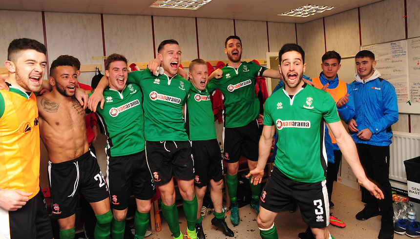Lincoln City players celebrate in the dressing room after beating Burnley<br /> <br /> Photographer Andrew Vaughan/CameraSport<br /> <br /> Emirates FA Cup Fifth Round - Burnley v Lincoln City - Saturday 18th February 2017 - Turf Moor - Burnley <br />  <br /> World Copyright &copy; 2017 CameraSport. All rights reserved. 43 Linden Ave. Countesthorpe. Leicester. England. LE8 5PG - Tel: +44 (0) 116 277 4147 - admin@camerasport.com - www.camerasport.com