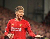 27th November 2019; Anfield, Liverpool, Merseyside, England; UEFA Champions League Football, Liverpool versus SSC Napoli ; Roberto Firmino of Liverpool gestures for the ball as Liverpool win a corner kick - Editorial Use