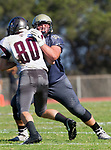 Palos Verdes, CA 09-07-18 - Zack Denny (Peninsula #53) and Jacob Boyd (Torrance #80) in action during the Torrance - Palos Verdes Peninsula Varsity football game.