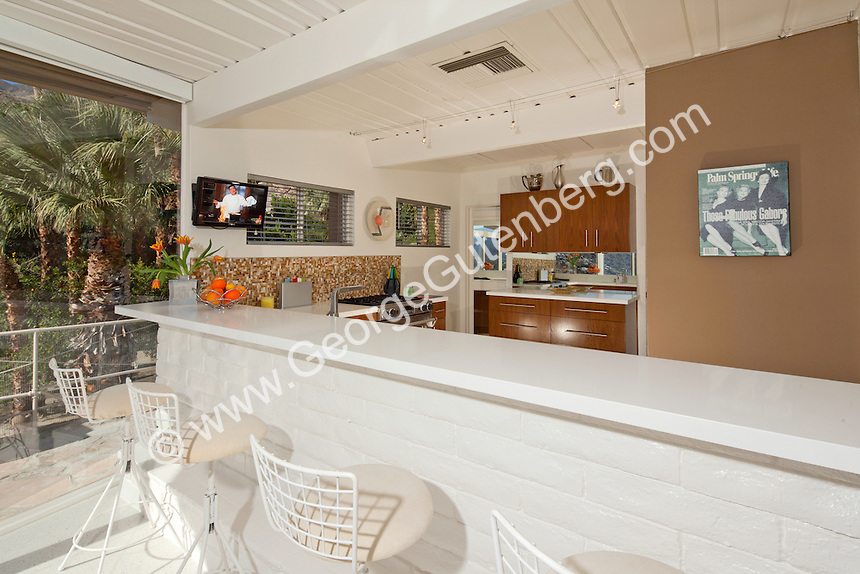 Stock photo of kitchen in mid-century modern home