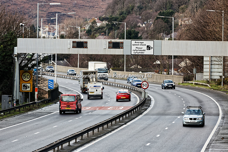 Pictured: The M4 motorway in Port Talbot, Wales, UK. Monday 29 January 2018<br /> Re: Some of the Port Talbot steel workers' pensions are under threat after being persuaded to change providers.