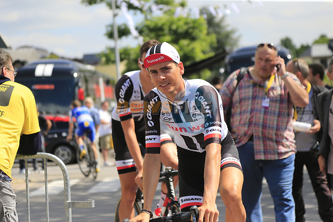 Warren Barguil (FRA) Team Sunweb at sign on in Mondorf-les-Bains before the start of Stage 4 of the 104th edition of the Tour de France 2017, running 207.5km from Mondorf-les-Bains, Luxembourg to Vittel, France. 4th July 2017.<br /> Picture: Eoin Clarke | Cyclefile<br /> <br /> <br /> All photos usage must carry mandatory copyright credit (&copy; Cyclefile | Eoin Clarke)