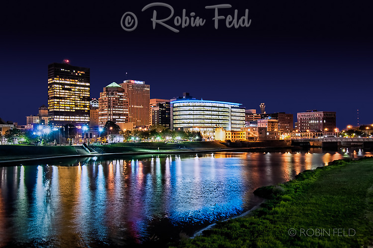 NIGHT PHOTO OF DAYTON OHIO SKYLINE