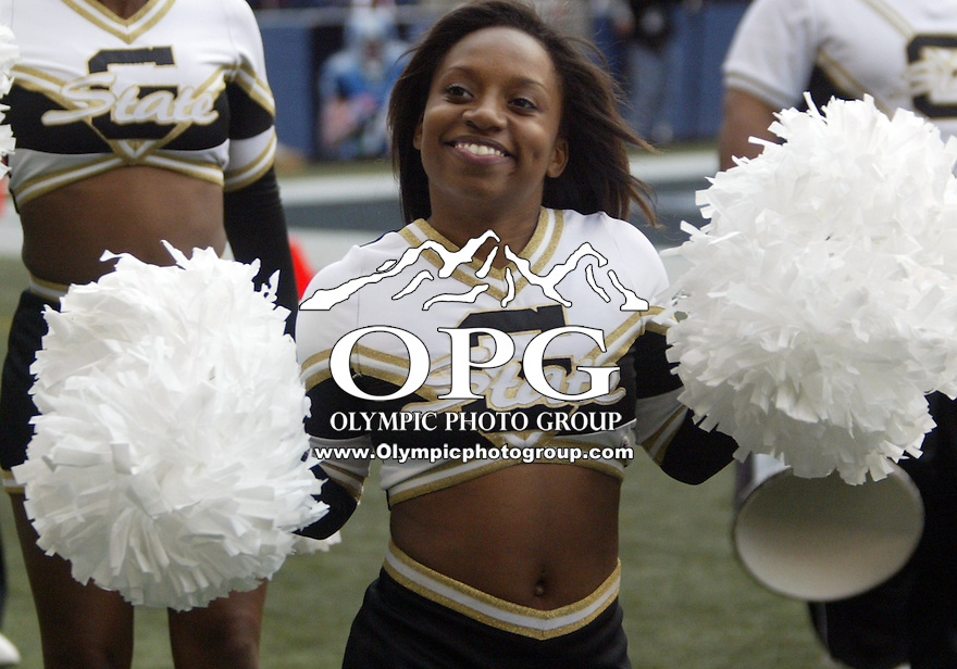 September 17, 2005:  Grambling State University cheerleaders entertained the crowd during halftime. Grambling State lost 48-7 to Washington State University at Quest Field in Seattle, WA.