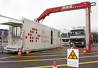 A mobile X-Ray machine belonging to the Swiss customs administration, is scanning a lorry at Bardonnex, the Swiss and French border, in Geneva province..They work on different customs border and events all over Switzerland..