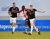 Lincoln City's Elliott Whitehouse vies for possession with Exeter City's Hiram Boateng<br /> <br /> Photographer Chris Vaughan/CameraSport<br /> <br /> The EFL Sky Bet League Two Play Off Second Leg - Exeter City v Lincoln City - Thursday 17th May 2018 - St James Park - Exeter<br /> <br /> World Copyright &copy; 2018 CameraSport. All rights reserved. 43 Linden Ave. Countesthorpe. Leicester. England. LE8 5PG - Tel: +44 (0) 116 277 4147 - admin@camerasport.com - www.camerasport.com