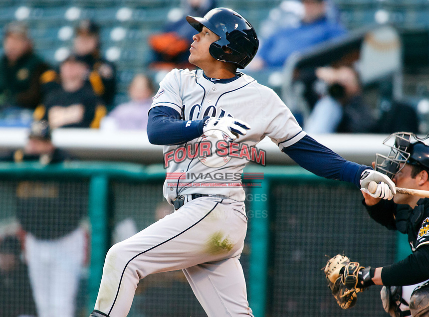 Tacoma Rainiers infielder Leury, Bonilla #5 during a game vs. Salt Lake Bees on April 26, 2011 at Spring Mobile Ballpark in Salt Lake City, Utah . Salt Lake Bees were defeated by Tacoma 8-4.  Photo By Matthew Sauk/Four Seam Images