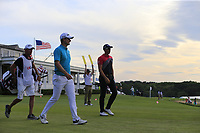 Justin Rose (ENG) and Henrik Stenson (SWE) walk off the 14th tee during Saturday's Round 3 of the 118th U.S. Open Championship 2018, held at Shinnecock Hills Club, Southampton, New Jersey, USA. 16th June 2018.<br /> Picture: Eoin Clarke | Golffile<br /> <br /> <br /> All photos usage must carry mandatory copyright credit (&copy; Golffile | Eoin Clarke)