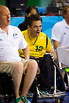 Australia's Steve Porter urges on his team matesin the semi final of the Wheelchair Rugby at the USTB Gymnasium at the Paralympic games, Beijing, China 15th September 2008