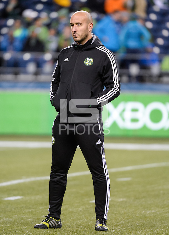November, 2013: CenturyLink Field, Seattle, Washington: Portland Timbers goalkeeper coach Steve Reese  as the Portland Timbers defeat  the Seattle Sounders FC 2-1 in the Major League Soccer Playoffs semifinals Round.