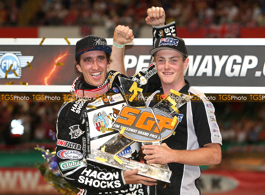 British Speedway Grand Prix Champion Chris Holder and his mechanic - British Speedway Grand Prix at the Millennium Stadium, Cardiff - 10/07/10 - MANDATORY CREDIT: Rob Newell/TGSPHOTO - Self billing applies where appropriate - 0845 094 6026 - contact@tgsphoto.co.uk - NO UNPAID USE.
