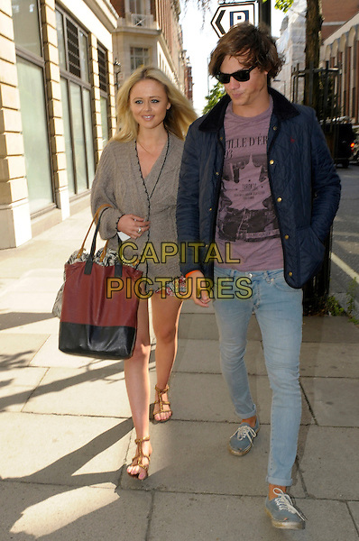 Emily Atack & friend.Spotted in central London, England..5th September 2012.full length sunglasses shades grey gray blazer black maroon burgundy bag purse jeans denim blue jacket cardigan purple top sandals.CAP/IA.©Ian Allis/Capital Pictures.