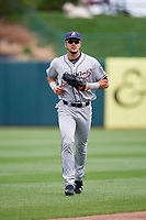 San Antonio Missions center fielder Alberth Martinez (21) jogs back to the dugout during a game against the Springfield Cardinals on June 4, 2017 at Hammons Field in Springfield, Missouri.  San Antonio defeated Springfield 6-1.  (Mike Janes/Four Seam Images)