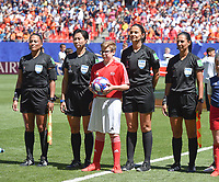20190629 - VALENCIENNES , FRANCE : Uruguyan referee Claudia Umpierrez (2nd from R) with assistants Luciana Mascarana and Monica Amboya and 4th referee Liang Qin  pictured during the female soccer game between Italy  - Squadra Azzurrine - and The Netherlands  – Oranje Leeuwinnen - , a knock out game in the quarter finals of the FIFA Women's  World Championship in France 2019, Saturday 29 th June 2019 at the Stade du Hainaut Stadium in Valenciennes , France .  PHOTO SPORTPIX.BE | DIRK VUYLSTEKE