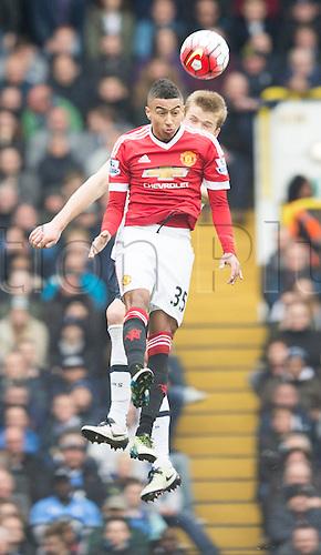 10.04.2016. White Hart Lane, London, England. Barclays Premier League. Tottenham Hotspur versus Manchester United. Manchester United midfielder Jesse Lingard (35) wins the header