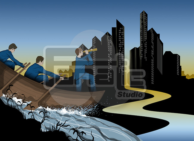 Illustration of businessmen in a boat with buildings in the background