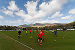 Keswick 1 Kendal 1, 15/04/2017. Fitz Park, Westmoreland League. Keswick players warming up. Photo by Paul Thompson.