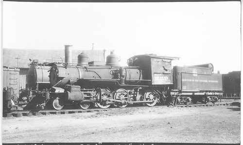 Engine #169 in storage.<br /> D&amp;RGW  Alamosa, CO  Taken by Perry, Otto C. - 7/4/1938