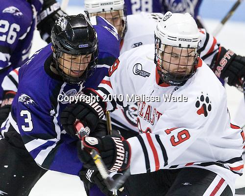 Jason Beattie (Niagara - 3), Wade MacLeod (Northeastern - 19) - The visiting Niagara University Purple Eagles defeated the Northeastern University Huskies 4-1 on Friday, November 5, 2010, at Matthews Arena in Boston, Massachusetts.