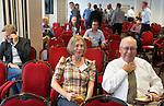 ZANDVOORT - GOLF -Marina Usoltseva met Jim Ross ., research manager  Canadees Turfgrass Research Foundation. DTRF (Dutch Turfgrass Research Foundation)  congres. COPYRIGHT KOEN SUYK