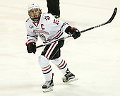 Kevin Roy (NU - 15) - The visiting Bentley University Falcons defeated the Northeastern University Huskies 3-2 on Friday, October 16, 2015, at Matthews Arena in Boston, Massachusetts.