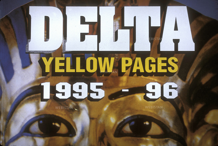 Egypt. Tanta. May 1996. Cover of the yellow pages (1995-1996) at Hotel Green's..Egypte. Tanta. Mai 1996. Couverture de l'annuaire des pages jaunes du Delta (de 1995 - 1996) a l'Hotel Green's.  ..
