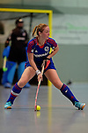 GER - Mannheim, Germany, December 19: During the 1. Bundesliga Sued Damen indoor hockey match between Mannheimer HC (blue) and Nuernberger HTC (red) on December 19, 2015 at Irma-Roechling-Halle in Mannheim, Germany. Final score 8-2 (HT 3-2). (Photo by Dirk Markgraf / www.265-images.com) *** Local caption *** Sophia Willig #9 of Mannheimer HC