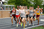 28 MAY 2016:  The men's 1,500 meter race gets off to a fast start during the Division III Men's and Women's Outdoor Track & Field Championship is held at Walston Hoover Stadium on the Wartburg College campus in Waverly, IA. Jake Campbell of St. Olaf won the race with a time of 3:49.27. Conrad Schmidt/NCAA Photos
