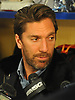 Henrik Lundqvist of the New York Rangers speaks with the media in the locker room of Madison Square Garden Training Center in Greenburgh, NY on Tuesday, April 10, 2018.