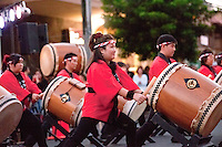 Taiko drummers performing at First Friday Street Festival, Wailuku, Maui