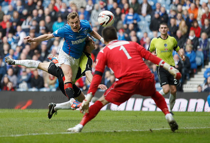 Dean Shiels heads in for the keeper to save but he gaets the rebound to score goal no 3