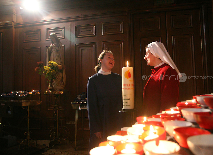 "13/04/2008.(L to R) Postulant Monica Boggan & Sister Lucy Conway at the official launch of the Catholic Church's ""Year of Vocation"".  , at the Pro Cathedral, Dublin. .Photo: Gareth Chaney Collins."