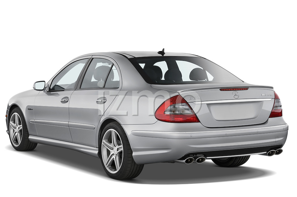 Rear three quarter view of a 2008 Mercedes E63 Sedan