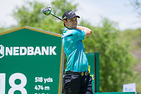 Steven Browne (ENG) on the 18th tee during the first round at the Nedbank Golf Challenge hosted by Gary Player,  Gary Player country Club, Sun City, Rustenburg, South Africa. 14/11/2019 <br /> Picture: Golffile | Tyrone Winfield<br /> <br /> <br /> All photo usage must carry mandatory copyright credit (© Golffile | Tyrone Winfield)