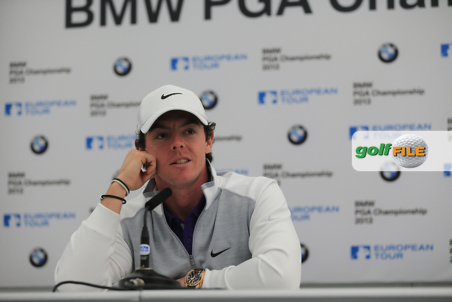Rory McIlroy (NIR) speaking to the assembled media at the European Tour  players dinner the night before at the BMW PGA Championship 2013, Wentworth Club, Virginia Water, Surrey, England..Picture:  Fran Caffrey/www.golffile.ie