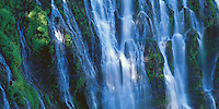 Burney Falls State Park, CA<br /> Detail of fallin water on mossy rock wall, from the 129 ft Burney Falls on the Modoc Plateau, Cascade Range, McArthur-Burney Memorial State Park