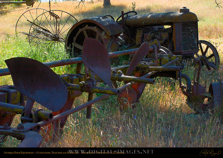 Antique Farm Equipment, Cultivator, Tractor, Hay Rake, Farm Field, Mariposa, California