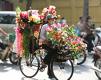Vietnamese woman, in modern dress including a baseball cap, is wearing a mask against the pollution as she waits at a traffic stop in Old Town Hanoi with her bicycle laden with beautiful, colorful flowers. In background two women in modern dress on a motorscooter and driver wearing a mask.