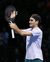 Roger Federer celebrates after winning his match against Jack Sock<br /> <br /> Photographer Rob Newell/CameraSport<br /> <br /> International Tennis - Barclays ATP World Tour Finals - O2 Arena - London - Day 1 - Sunday 12th November 2017<br /> <br /> World Copyright &copy; 2017 CameraSport. All rights reserved. 43 Linden Ave. Countesthorpe. Leicester. England. LE8 5PG - Tel: +44 (0) 116 277 4147 - admin@camerasport.com - www.camerasport.com
