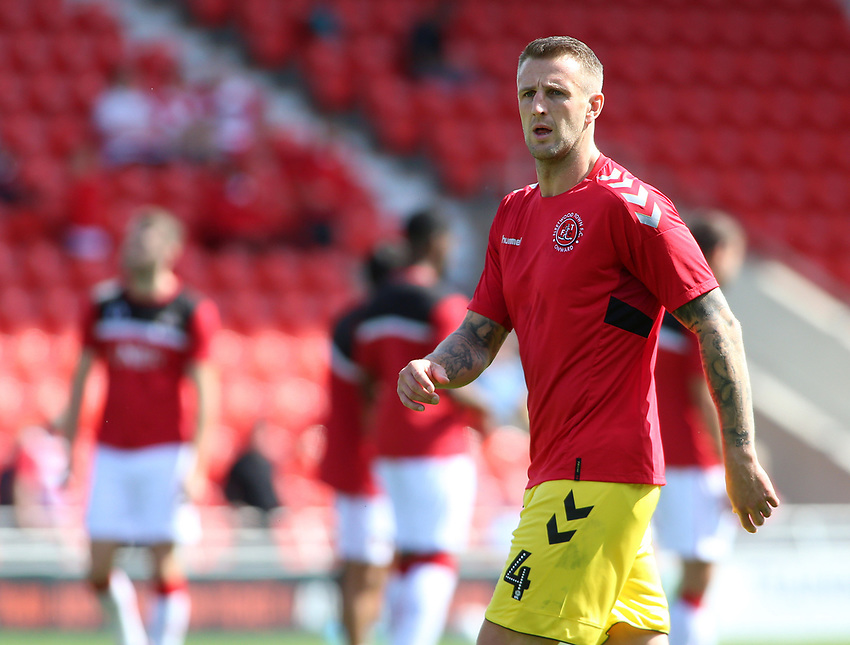 Fleetwood Town's Peter Clarke during the pre-match warm-up <br /> <br /> Photographer David Shipman/CameraSport<br /> <br /> The EFL Sky Bet League One - Doncaster Rovers v Fleetwood Town - Saturday 17th August 2019  - Keepmoat Stadium - Doncaster<br /> <br /> World Copyright © 2019 CameraSport. All rights reserved. 43 Linden Ave. Countesthorpe. Leicester. England. LE8 5PG - Tel: +44 (0) 116 277 4147 - admin@camerasport.com - www.camerasport.com