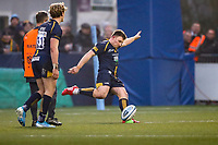 25th January 2020; Sixways Stadium, Worcester, Worcestershire, England; Premiership Rugby, Worcester Warriors versus Wasps; Duncan Weir of Worcester Warriors scores his second free kick to lead 6-5 in the 30th minute