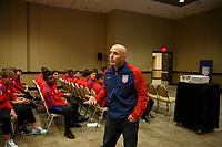 Bradenton, FL : Shaun Tsakiris speaks to US Soccer athletes during a presentation in Bradenton, Fla., on January 4, 2018. (Photo by Casey Brooke Lawson)