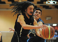 Action from the 2014 College Sport Wellington senior boys' Basketball division one final between Aotea College (navy and sky blue) and Wainuiomata High School (green and black) at Te Rauparaha Arena, Porirua, Wellington, New Zealand on Thursrday, 28 August 2014. Photo: Dave Lintott / lintottphoto.co.nz