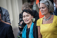 Burmese pro-democracy leader AUNG SAN SUU KYI at a public meeting outside of the Nobel Centre in Oslo. Suu Kyi holds her first official diplomatic tour in Europe after 15 years in house arrest in Myanmar. She visits Switzerland, Norway, Ireland, Britain and France from June 13 to June 29 2012..