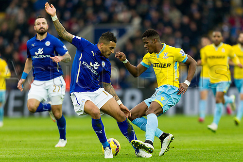 07.02.2015.  Leicester, England. Barclays Premier League. Leicester City versus Crystal Palace. Wilfried Zaha of Crystal Palace attempts to beat Danny Simpson of Leicester City.