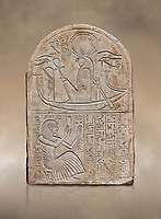 Ancient Egyptian stele dedicated to Re-Harakhty by draftsman Pay, limestone, New Kingdom, 19th Dynasty, (1292-1190 BC), Deir el-Medina, Schiaprelli cat 6144. Egyptian Museum, Turin.