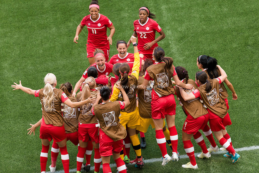 June 21, 2015: Josee BELANGER of Canada celebrates her goal during a round of 16 match between Canada and Switzerland at the FIFA Women's World Cup Canada 2015 at BC Place Stadium on 21 June 2015 in Vancouver, Canada. Canada won 1-0. Sydney Low/Asteriskimages.com