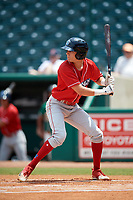 Lakewood BlueClaws shortstop Nick Maton (6) at bat during a game against the Greensboro Grasshoppers on June 10, 2018 at First National Bank Field in Greensboro, North Carolina.  Lakewood defeated Greensboro 2-0.  (Mike Janes/Four Seam Images)